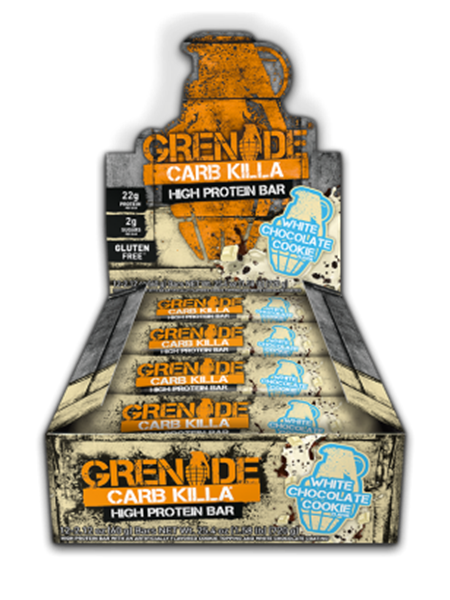 Picture of Grenade carb Killa Protein Bar - White chocolate Cookie box of 12 Bars